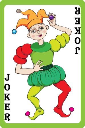 baile caricatura: Dibujado a mano ilustración de escala de un naipe que representa el jocker, un elemento de un paquete