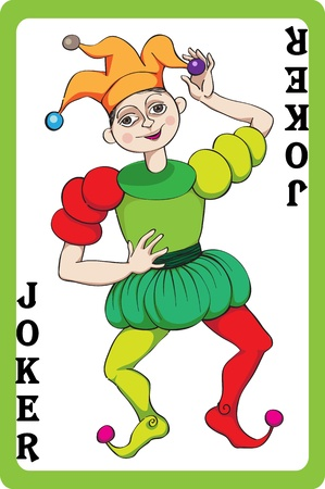 Scale hand drawn illustration of a playing card representing the jocker, one element of a pack