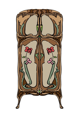 1900 style wardrobe with floral ornaments, hand drawn colored illustration isolated on white Vector
