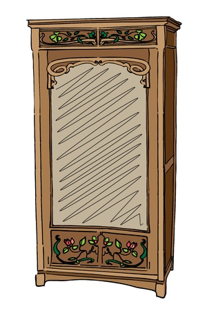 1900 style wardrobe, hand drawn colored illustration isolated on white Vector