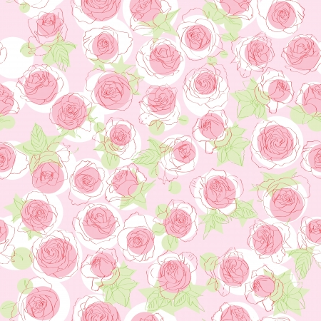 Hand drawn roses pattern, retro graphic style illustration over a pink background Vector