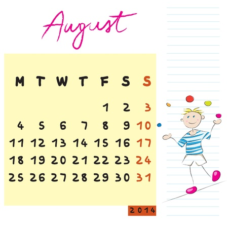 august 2014 calendar illustration, hand drawn design with kid, the risk-taker student profile for international schools Vector
