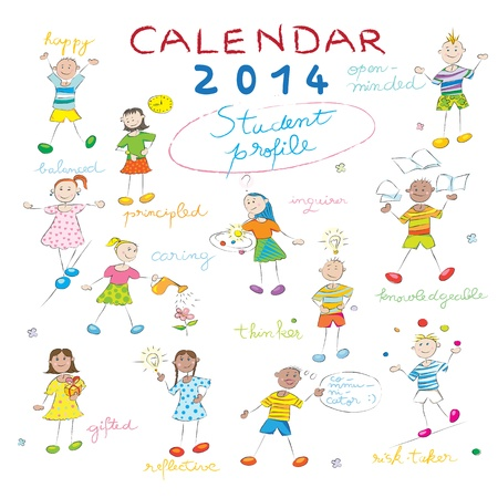 2014 calendar cover on a whiteboard with the student profile, cover design with kids illustration for schools Illustration
