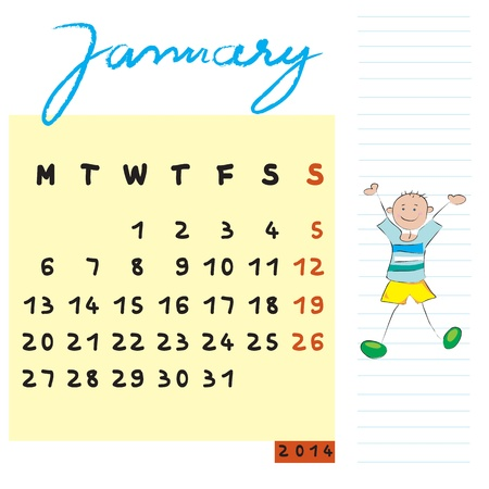 january 2014 calendar illustration, hand drawn design with the happy student profile for international schools Stock Vector - 19866069