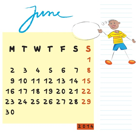 june 2014 calendar illustration, hand drawn design with kid, the communicator student profile for international schools Vector