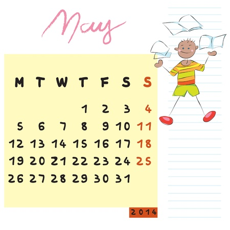 may 2014 calendar illustration, hand drawn design with kid, the knowledgeable student profile for international schools Vector