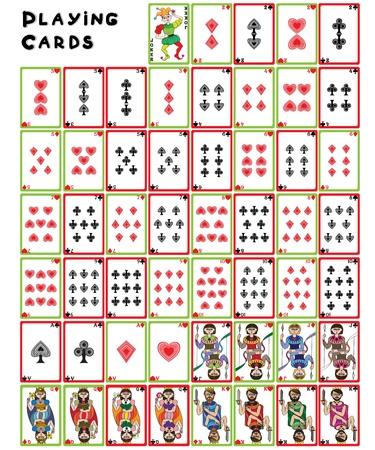 playing card symbols: Jugando a las cartas de carga, ilustraci�n de una colecci�n completa de objetos aislados en blanco