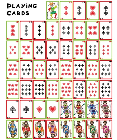king and queen of hearts: Playing cards pack, illustration of a full collection of objects isolated on white