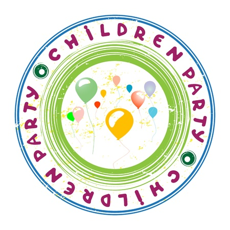 Children party colorful stamp with ballons isolated on white Stock Vector - 20237553