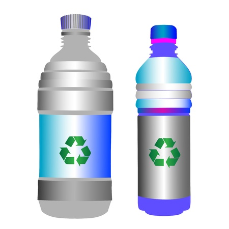 recycle sign: Two glossy plastic bottles with the green recycling sign over blank labels, objects isolated on white