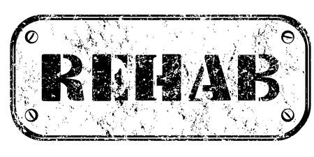 drogadiccion: Sucio Rehab sello aislado en blanco
