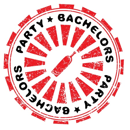 Bachelors party abstract grungy stamp isolated on white Vector