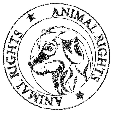 Animal rights stamp with the illustration of a dog head isolated on white Stock Vector - 20673522