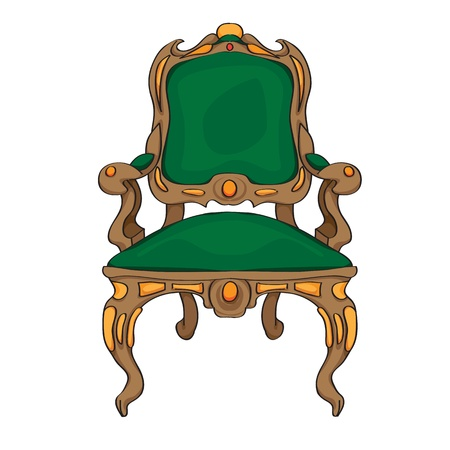 Baroque chair colored doodle, hand drawn illustration of an antique furniture piece  with green upholstery, decorated with colored ornaments Vector