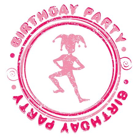 Birthday party grungy stamp with the pink silhouette of a child costumed as a harlequin Stock Vector - 20673525