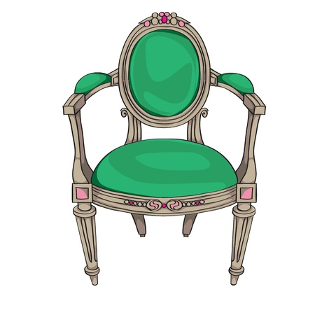 Classic chair colored doodle, hand drawn illustration of an antique furniture piece with green upholstery and oval ornaments Vector