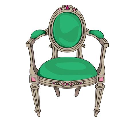 muebles antiguos: Classic silla de color garabato, ilustración dibujados a mano de una pieza de mobiliario antiguo con tapicería de color verde y ornamentos ovales