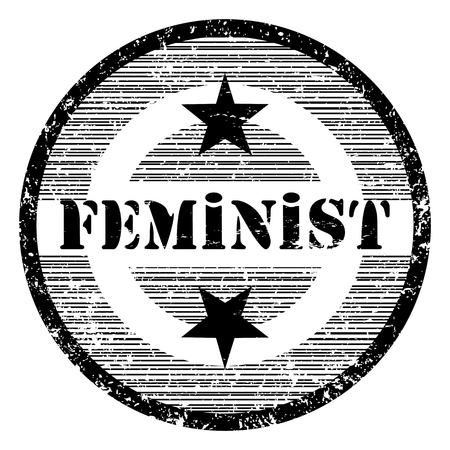 feministische: Feministische grungy stempel met sterren op wit wordt geïsoleerd Stock Illustratie