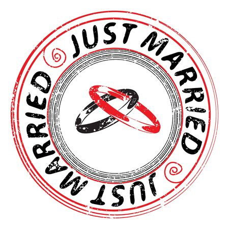 Just married retro stamp with two rings isolated on white Vector