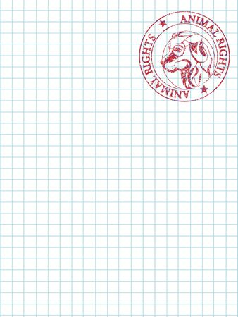 Math paper with an animal rights stamp imprinted on the right top of the page Vector