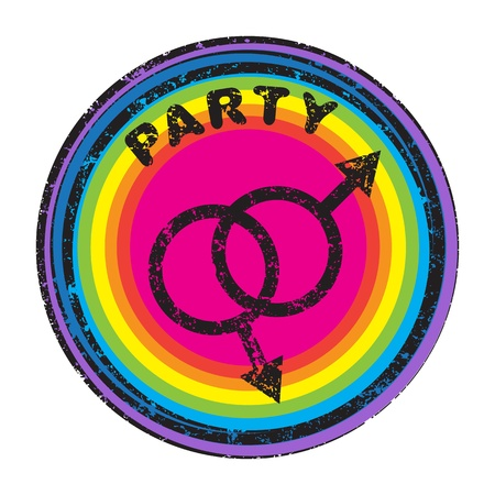 is masculine: Queer party grungy stamp with masculine symbols isolated on white