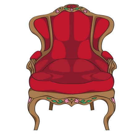 antique furniture: Rococo armchair doodle, hand drawn illustration of an antique furniture piece with red upholstery and floral decoration isolated on white Illustration