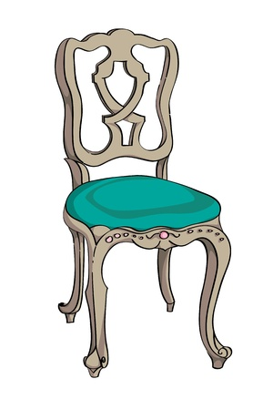 Rococo chair colored doodle, hand drawn illustration of a decorated antique furniture piece with light green upholstery isolated on white Vector