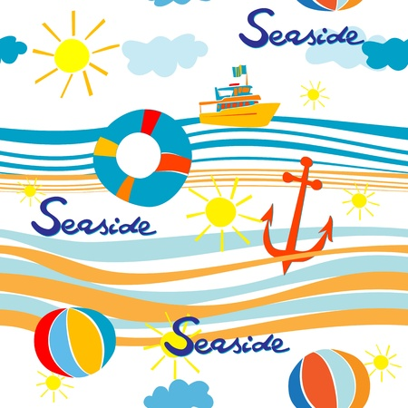Seaside pattern with boat, life buoy, anchor and beach balls over waves  Vector