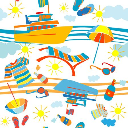 barge: Summer vacation seamless pattern with barge and beach objects over waves