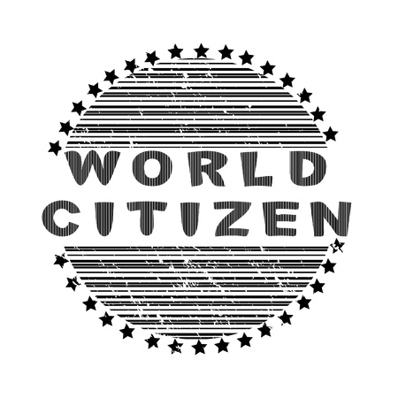World citizen stamp with striped globe and stars isoalted on white Vector