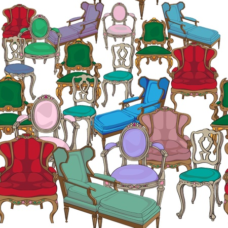 Antique chairs seamless pattern, hand drawn colored doodles over white background Vector