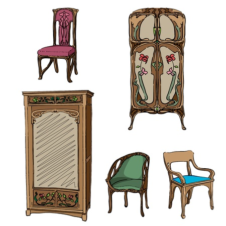 jugendstil: Art Nouveau colored furniture collection, hand drawn illustration of a series of chairs and wardrobes isolated on white