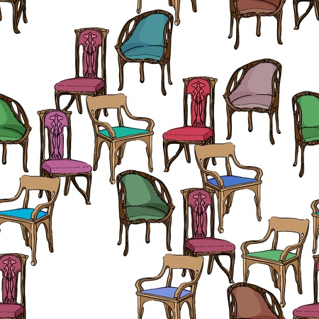jugendstil: Art Nouveau colored chairs seamless pattern, hand drawn illustration of a series of chairs isolated on white