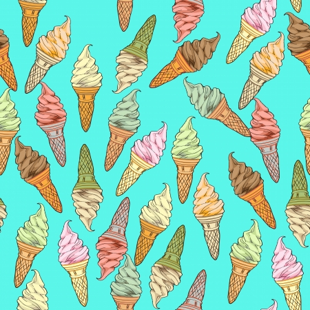 ice cream design: Ice cream seamless pattern, hand drawn doodles over a blue background