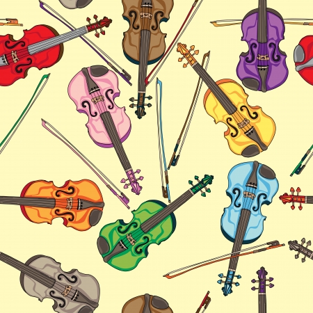 violins: Violins colorful seamless pattern, hand drawn doodles over a yellow retro background Illustration