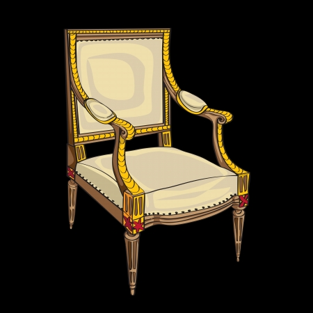 Classical style chair hand drawn illustration, doodle over a black background Vector