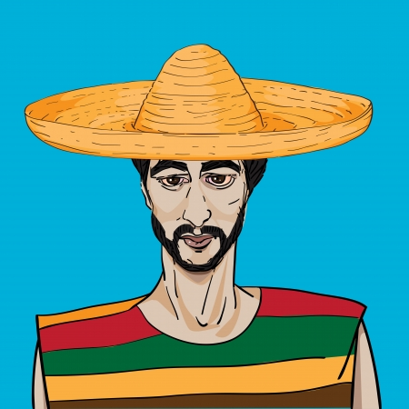 poncho: Beautiful retro portrait of a mexican with hat and poncho over a blue sky background