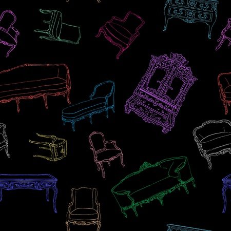 Rococo furniture hand drawn pattern on black, colored doodles composition Vector