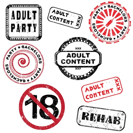 pornography: Adult content and bachelors party stamps collection isolated on white