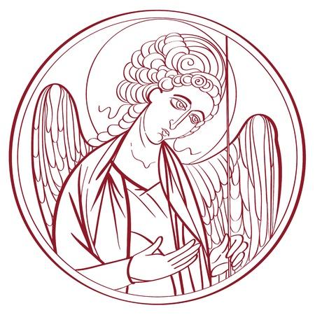 michele: Arcangelo disegno contorno, disegnata a mano illustrazione di una icona interpretazione ortodossa isolato su bianco