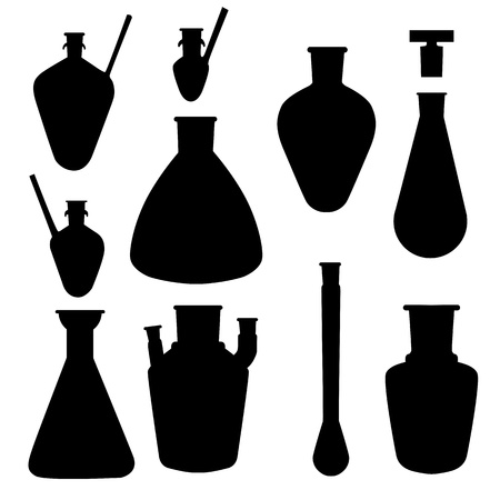 Chemistry lab glasses silhouettes, objects collection isolated on white Vector
