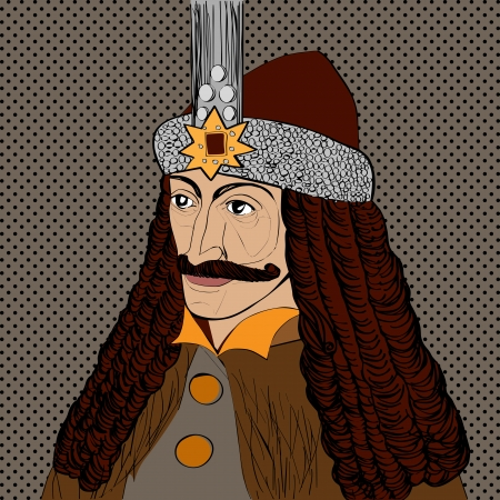 vlad: Portrait of Vlad Tepes of Wallachia, Romania, known as Dracula, pop art cartoon over dots texture