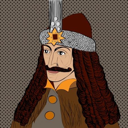 vlad: Portrait of Vlad Tepes of Wallachia, Romania, known as Dracula, pop art cartoon over dots texture