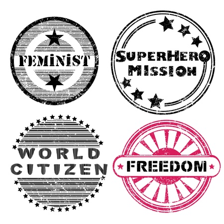national hero: Freedom social issues retro stamps series isolated on white Illustration