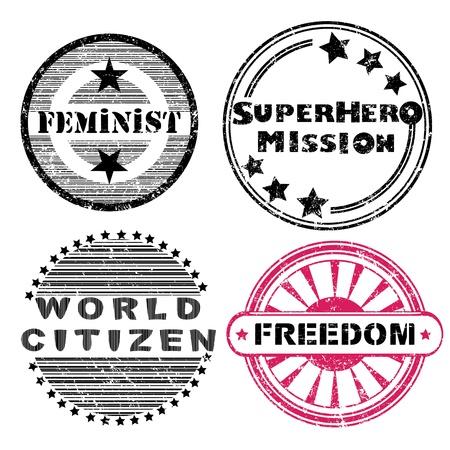 social issues: Libert� questioni sociali retr� francobolli della serie isolato su bianco Vettoriali