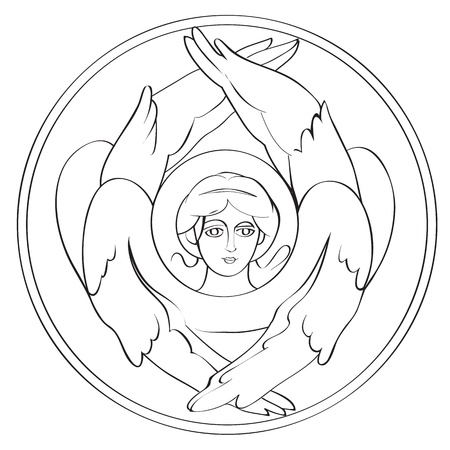 seraphim: Seraph freehand outline drawing, illustration in a round medalion isolated on white