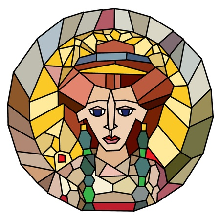beauty queen: Stained glass style artwork isolated on white, original interpretation of an antique portrait of empress Theodora from San Vitale, Ravenna