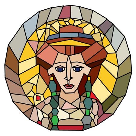 interpretation: Stained glass style artwork isolated on white, original interpretation of an antique portrait of empress Theodora from San Vitale, Ravenna