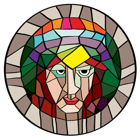 phantasy: Phantasy stained glass portrait, illustration of an old dark person with multicolored hair and crown, cartoon isolated on white