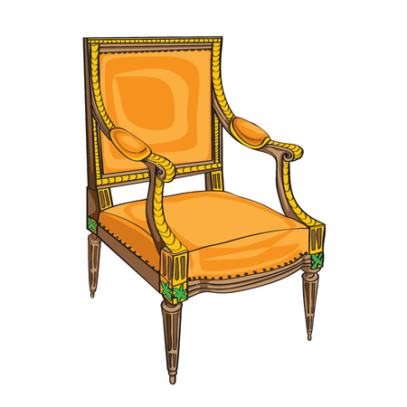 Classical style chair hand drawn illustration, doodle over a white background Vector